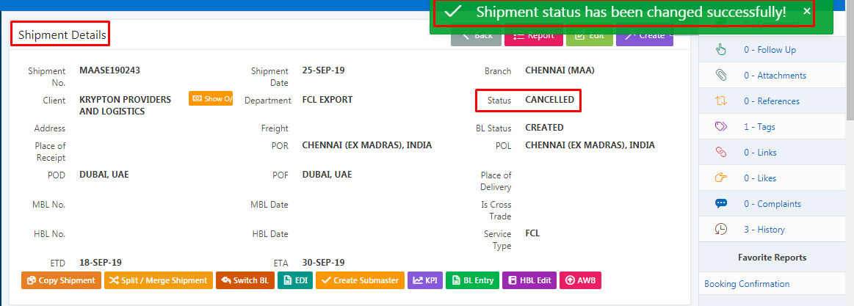 cancel shipment