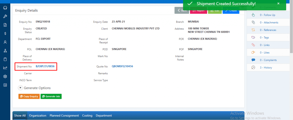 Shipment form an Enquiry 5